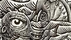 Sea Monster Jamboree Shower Curtain (Don Moyer) Tags: drawing curtain monsters moyer brushpen kickstarter donmoyer