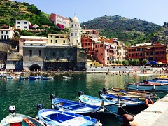 Cinque Terre (traveler in gumboots) Tags: italy cinque terre cinqueterre coast boats town colour color dock hill mountain sea ocean beach buildings europe tourist holiday vacation summer