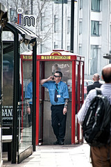Hello.......is that Superman? (tootdood) Tags: hello street manchester phone box candid piccadilly superman canon70d