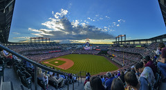 Elevation = 1 mile (acase1968) Tags: blue sunset summer sky chicago mountains field clouds photoshop lens rockies major nikon colorado skies baseball stadium rocky denver photomerge cubs nikkor storms league coors between mlb d600 cs6 f28g 1424mm 7photo
