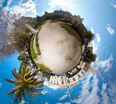 When the sky is blue (amfipolos) Tags: park blue trees sky photoshop 360 greece planet nafplion sonycybershot nafplio polarcoordinates tinyplanet littleplanet polarpanorama stereographicprojection pixelbender