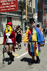 Scary clown and mistress (zot0 (Mike K)) Tags: sanfrancisco soma sfist howweirdstreetfaire worldpeacethroughtechnology tamron28mm125adaptall2 pentaxk3