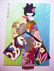 ACEO39 - Ayumi (tengds) Tags: flowers blue white green atc artisttradingcard asian japanese fan lavender card kimono obi papercraft japanesepaper washi ningyo handmadepaper handmadecard chiyogami yuzenwashi japanesepaperdoll naildecor washidoll origamidoll kimonodoll tengds dylusionspray