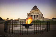 Shrine of Remembrance (samiKoo) Tags: city morning autumn sky monument canon photography photo shrine dusk australia melbourne victoria flame photograph april sight 6d shrineofremembrance 24105mm melbournearchitecture