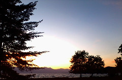 Sunset in Ohrid (nazmije.d) Tags: park trees sunset shadow sky plants lake mountains water beautiful landscape spring outdoor may ohrid romantic maj ezero pejsaz ohridlake zajdisonce ohrdinspring