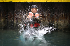 Splash (United States Marine Corps Official Page) Tags: swimming hawaii us jumping unitedstates nike converse waterdroplets chucks blackshoes marinecorpsbasehawaii desertcammies aquatictraining digitalcammo reconmarines
