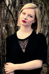 Lydia (FVD.Multimdia) Tags: red portrait people girl fashion forest dark model eyes branches lips pale blonde