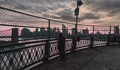 ominous ( Esther ) Tags: street new york city travel bridge blue light sunset sea sky urban sun ny building water architecture brooklyn night clouds river cityscape manhattan