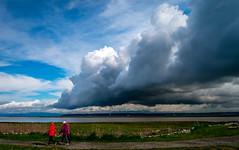 Morning Cloud  (T.ye) Tags: blue red sky people cloud grass walking landscape outside todd  ye    ourdoor
