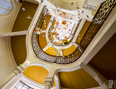 orange staircase (apollai) Tags: light color lines stairs spiral four amazing cool focus curves budapest wide indoor olympus staircase micro tones thirds 918 m43 mft milc gm1