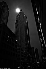 The Dark Tower. (Neil. Moralee) Tags: street city sky blackandwhite bw sun white toronto ontario black building tower monochrome strange silhouette dark mono nikon sinister centre evil neil center odd wicked horror tall backlit financial finance 18300mm d7100 moralee neilmoralee canadaneilmoraleenikond7100