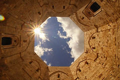Castel del Monte (NazliAktuglu) Tags: blue sky italy white castle history beautiful architecture clouds italia medieval shape puglia casteldelmonte canon600d