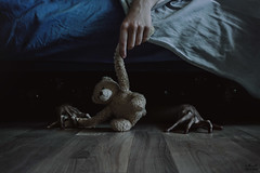 They Wait... (Megan Glc Photographe) Tags: blue sleeping monster night scary hands interior ghost dream creepy horror wait inside nightmare asleep creatures