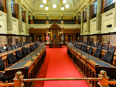 The legislative chamber (Canadian Dragon) Tags: red summer canada bc chairs august victoria vancouverisland chamber legislature parliamentbuildings 2015 legislativechamber dschx5c