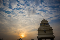 Sunrise at Kempegowda watch tower in Lalbagh (Aditya Chandra) Tags: blue sky orange india tower sunrise bangalore karnataka lalbagh kempegowda