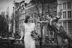 Wedding Amsterdam (siebe ) Tags: wedding blackandwhite bw holland love netherlands dutch amsterdam groom bride couple scene gracht bruiloft 2015 bruidspaar bruid trouwreportage bruidsfotografie bruidsfoto siebebaardafotografie wwwmooietrouwreportagesnl