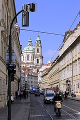 Kostel sv. Mikule (oxfordblues84) Tags: blue sky people building clock church car architecture buildings europe prague bluesky tourists clocktower pedestrians motorcycle czechrepublic baroque malastrana churchofstnicholas kostelsvmikule baroquearchitecture vikingrivercruise baroquechurch christophandkilianignazdientzenhofer
