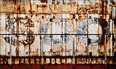 Past Sarcinariousity (Junkstock) Tags: old railroad color texture abandoned industry wisconsin train typography photography photo graphics junk rust iron paint industrial graphic photos decay transport machine rusty trains textures machinery photographs photograph rusted transportation type americana weathered locomotive aged peelingpaint artifact distressed corrosion artifacts decayed colfax corroded relic rustyandcrusty oldstuff craquelure oldandbeautiful oldusedobjects altebenutztegegenstände