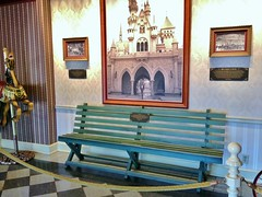 One of the benches from the Griffith Park Merry-Go-Round on display at Disneyland