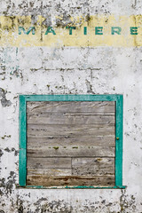 Welcome to Matiere (A Different Perspective) Tags: white green yellow wall garage text worn motor rough matiere
