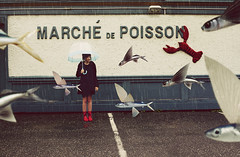 Flying Fish (andreannelupien) Tags: red urban inspiration fish water girl rain shop umbrella boot idea fly flying wings rainyday surrealism parking wing creative surreal creation rainy imagine imagination surrealist create concept conceptual ideas poisson redboots