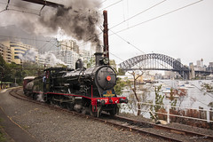 Steamed Lavender (Nathan Murphy) Tags: bridge water train point boats photography bay branch view north sydney tracks lavender overcast milsons habour habor gosford lvr waverton 3237 lachlanvalleyrailway c32class