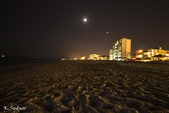night beach (1 of 1) (Ksydnor) Tags: ocean sunset moon beach night sand dunes condos storms