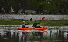 Canoe (howell.davies) Tags: uk reflection church nature water st wales river landscape nikon tide paddle canoe marsh loughor ebbing d3200 teilos teilo pontarddulais 55200vr