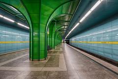 Bohmerwaldplatz *Explore* (sarah_presh) Tags: blue green station yellow germany underground munich metro platform artdeco hdr bohmerwaldplatz nikond750
