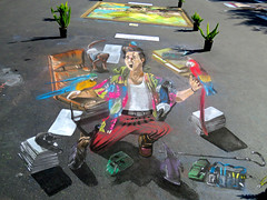 Most Amazing!  3-D chalk painting (Bennilover) Tags: chalk amazing parkinglot drawing contest paintings drawings explore sidewalk singer 3dart missionviejo chalkpainting the90s sidewalkpainting 3dimensionalpainting 3dimpression artsalivechalkpaintingfestival
