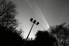 In the spotlight ! (chrisnormandale) Tags: sky blackandwhite monochrome menacing streetphotography spotlights floodlights ricohgrd4 wwwchrisnormandalecom