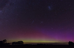 Shooting Star, Mother's Day Aurora, and the Magellanic Clouds (AllisonwonderlandNZ) Tags: newzealand silhouette stars astrophotography nz nightsky rays aotearoa mothersday starlight southernlights auroraaustralis southcanterbury magellanicclouds