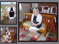 Black and Beige (krislagreen) Tags: white black tv pumps dress feminine cd femme tan tgirl transgender blond transvestite heels crossdress tg feminization feminized turbocollage
