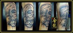 TATTOO CAVEIRA (dragoesdeourotattoo) Tags: tattoo de uma brao com em nosso caveira relgio pelo ouro feita sesso rogrio drages jundia tatuador sombreada