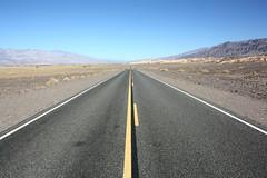 Scotty's Castle Road (nikosbreizh) Tags: road hot long alone desert bluesky lonely straight far yellowline