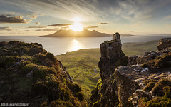 Finger of God (RobGrahamPhotography) Tags: sunset sea mountain mountains canon landscape island golden scotland landscapes innerhebrides outdoor hour rum fingerofgod pinnacle eigg isleofrum smallisles cleadale canon6d