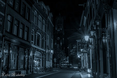 Utrecht at night (Gainesvilledutchie) Tags: street nightphotography white black holland tower church netherlands night lights streetlight long exposure utrecht domtoren dome bnw