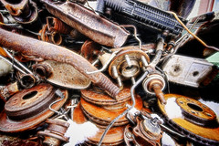 Spare Parts (Brian 104) Tags: carparts rusty rust brakes bearings exhaust pipes scrap fractalblend