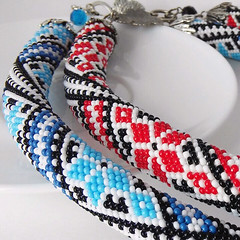 two ukrainian embroidery necklaces (victoria_beads) Tags: flowers beautiful beauty necklace beads women knitting handmade embroidery jewelry bracelet ukrainian beadwork seedbeads beadcrochet japanbeads victoriabeads