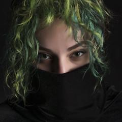 Looking at You (halelinda) Tags: portrait woman beauty hair eyes nikon mask lg lowkey profoto strobist