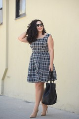 Nontraditional Workwear (GirlWithCurves) Tags: curlyhair officewear workwear plaiddress plussizefashion modcloth taneshaawasthi