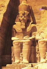Egypt 1982 - Abu Simbel - Rock Temple of Ramses II (ramalama_22) Tags: lake rock facade temple high dam egypt nile ii aswan abu 1980s ramses simbel nasser reconstructed