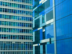 Windows Office (Joanne Dale) Tags: nyc blue windows light white newyork abstract reflection building glass lines architecture brooklyn outdoors pattern minimal repetition linear iphone joannedale
