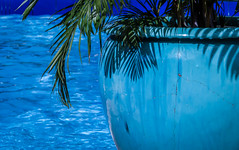Crack Pot in Blues (Jacqui1224) Tags: blue water shadows vase poolside stlucia