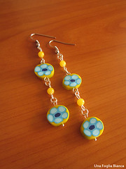 orecchini gialli murrine (Nhenya) Tags: cernit fimo earrings polymer clay orecchini handmade murrine