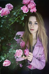 Think Pink (Steve Lundqvist) Tags: pink flowers roses portrait people girl leather rose rosa jacket biker ritratto ragazza womenswear