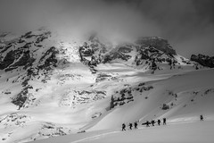 Climbers Descending Rainier (absencesix) Tags: travel sky blackandwhite bw snow sports nature beauty weather clouds iso100 washington spring skiing seasons unitedstates events noflash mountrainier mountrainiernationalpark glaciers april northamerica portfolio ashford campmuir locations skitracks skitrips locale backcountryskiing 2015 skimountaineering downhillskiing 500px 69mm skiingtrips geo:country=unitedstates geo:state=washington geo:city=ashford activityaction apertureprioritymode exif:make=sony hasmetastyletag hascameratype naturallocale adjectivesfeelingdescription mountainsmountainranges haslenstype camera:make=sony selfrating5stars 13200secatf80 exif:aperture=ƒ80 subjectdistanceunknown mirrorlesscameras fe2470mmf4zaoss exif:isospeed=100 exif:focallength=69mm sonyvariotessartfe2470mmf4zaoss ilce7s sonyalphaa7s geo:location=mountrainiernationalpark ashfordwashingtonunitedstates 2015travel camera:model=ilce7s exif:model=ilce7s campmuir04262015 geo:lon=12172722206 geo:lat=4680603978 46°4822n121°4338w exif:lens=fe2470mmf4zaoss april262015