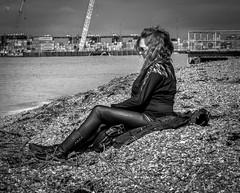 MY MRS IN MONO (David Joyce 581) Tags: sea people bw water stone port suffolk cranes shore wife felixstow eos70d