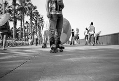 Weird filming crew on wheels (Victor.Colas) Tags: blackandwhite byn film monochrome kodak trix streetphotography ps bn contax skate roller epson pointandshoot t3 rodinal compact oneshot v500 r09