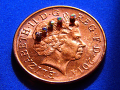 Crown Jewels (Alan FEO2) Tags: bronze coin shine head stones profile indoors round copper crown reverse jewels royalty circular obverse 2pence macromondays smallerthanacoin 2oef decorativefingernails